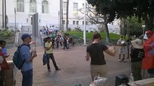 City Hall Los Angeles TPP rally.