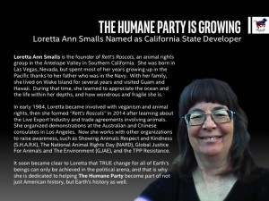 Founder of Rett's Rascals is now the State Developer for what will hopefully be The Humane Party of California